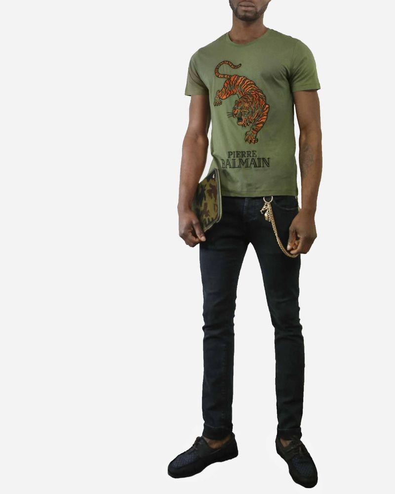T-Shirt kaki motif tigre Pierre Balmain