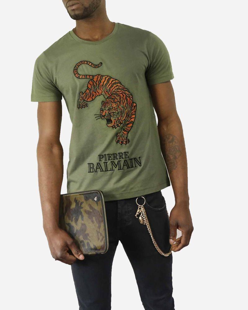 T-Shirt kaki à broderie «Tigre» Pierre Balmain