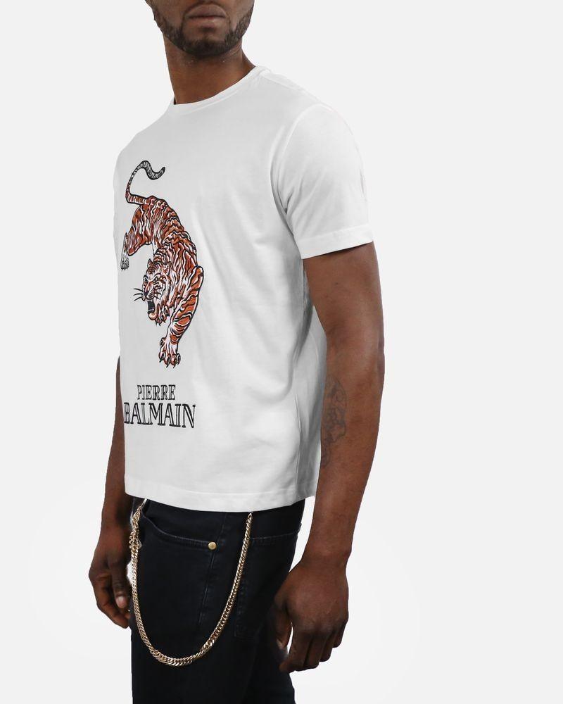 T-Shirt blanc cassé à broderie «Tigre» Pierre Balmain
