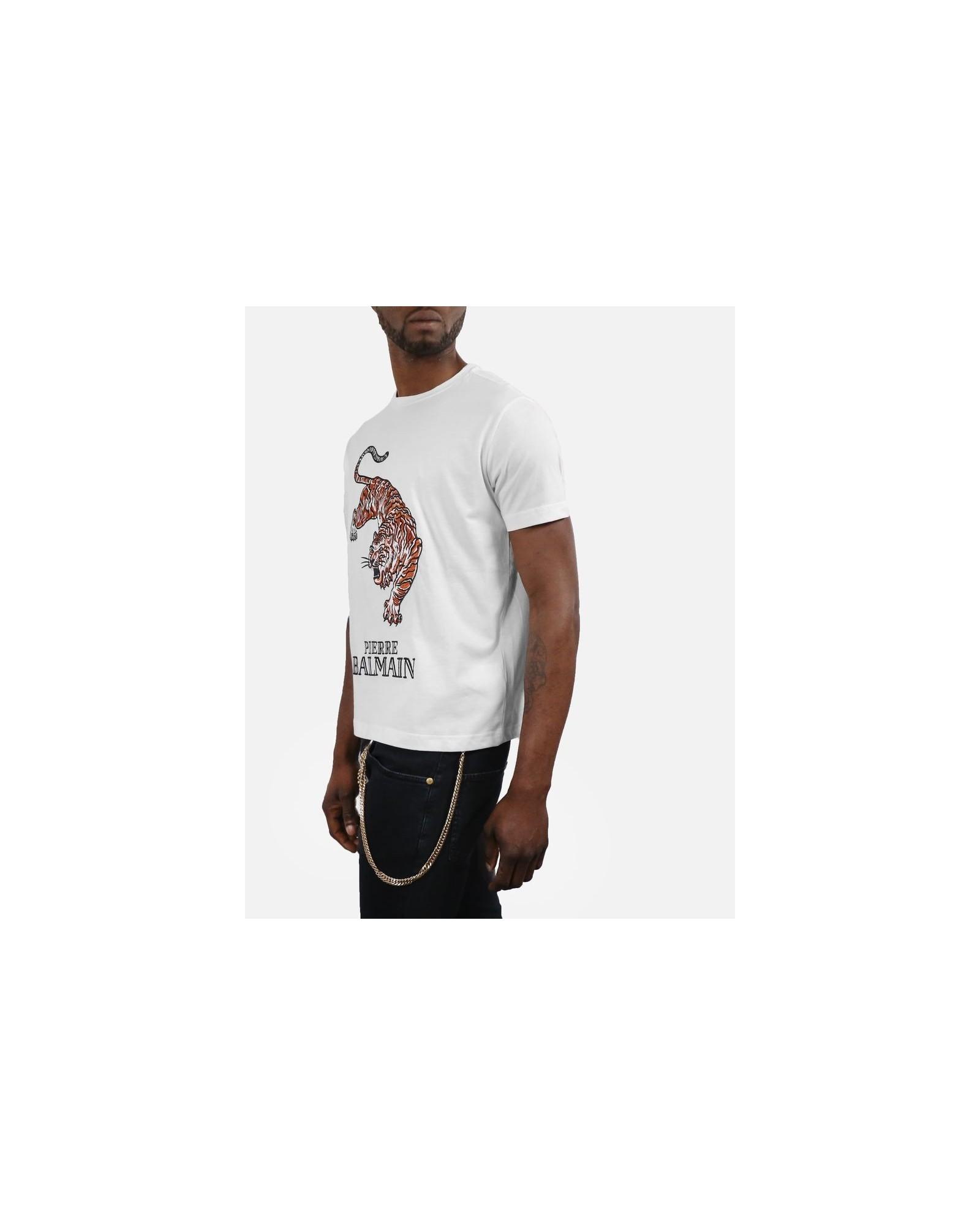 T-Shirt blanc motif tigre Pierre Balmain