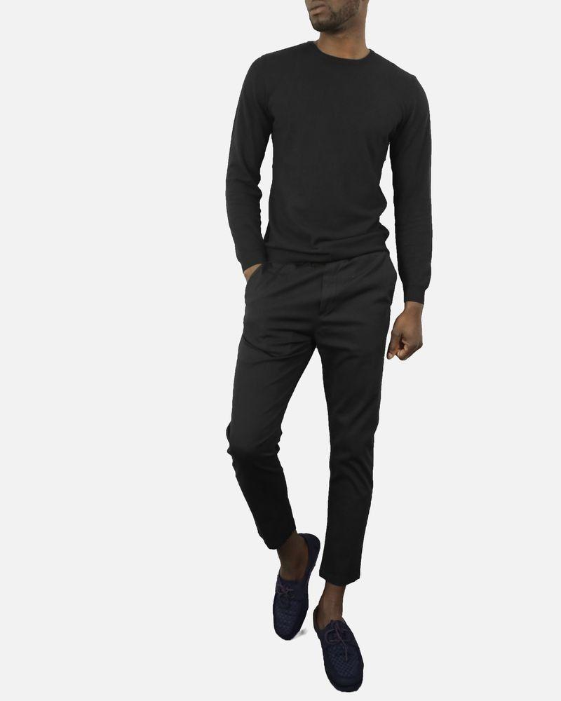 Pantalon carotte noir à ceinturons bordeaux Low Brand