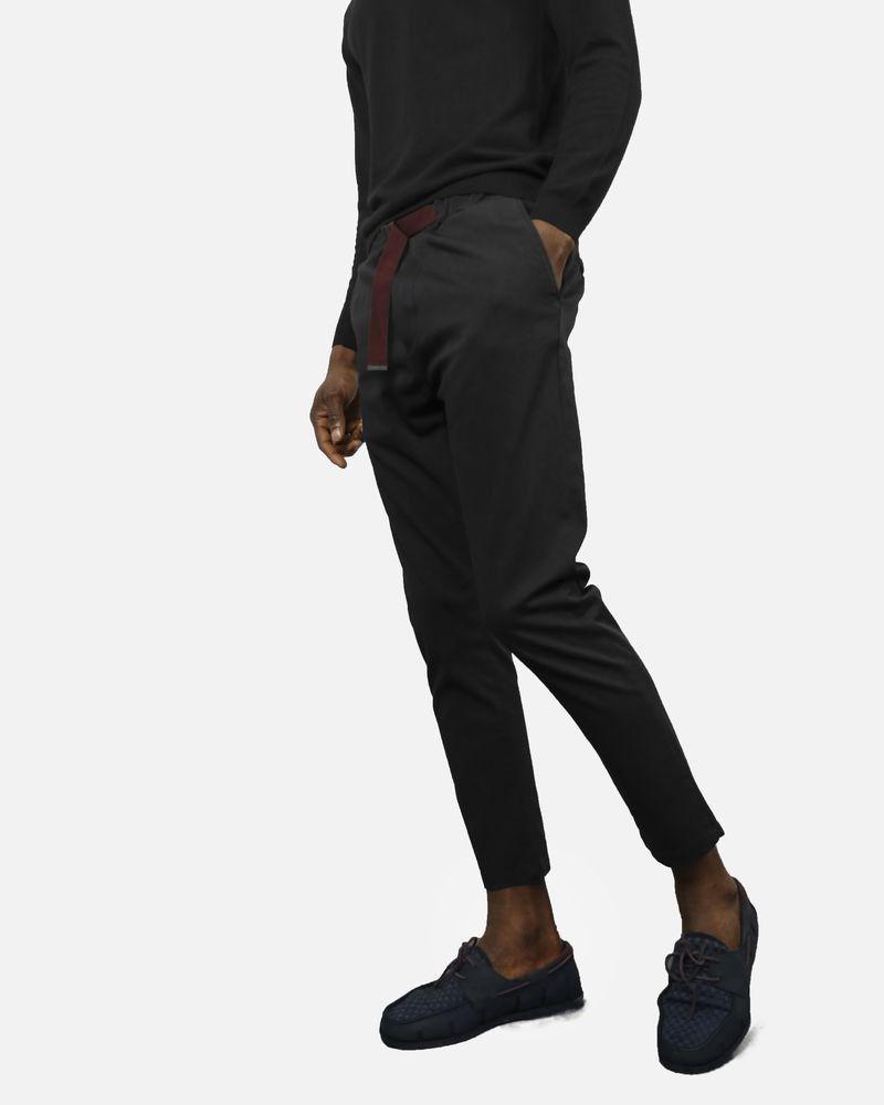 Pantalon noir ceinture bordeaux Low Brand