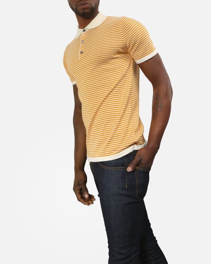 Polo en coton à rayures orange/beige Daniele Fiesoli