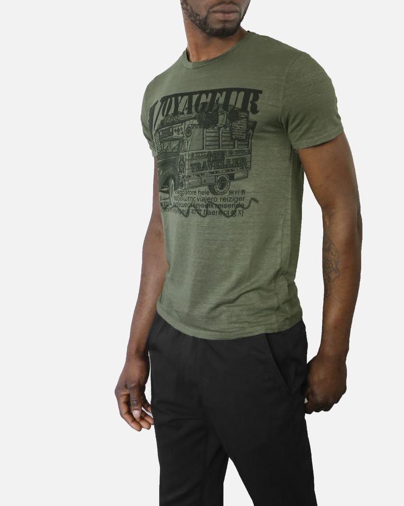 """T-shirt en coton vert kaki, imprimé camion """"Voyageur"""" Daniele Fiesoli"""