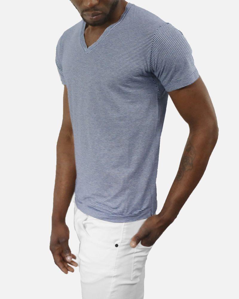 T-shirt en coton bleu à rayures marine/gris Daniele Fiesoli