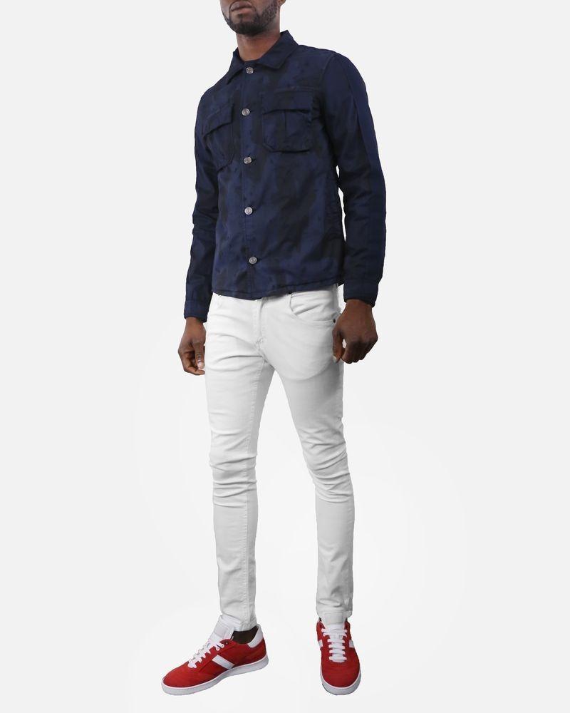 Blouson homme coton imprimé camouflage bleu Low Brand