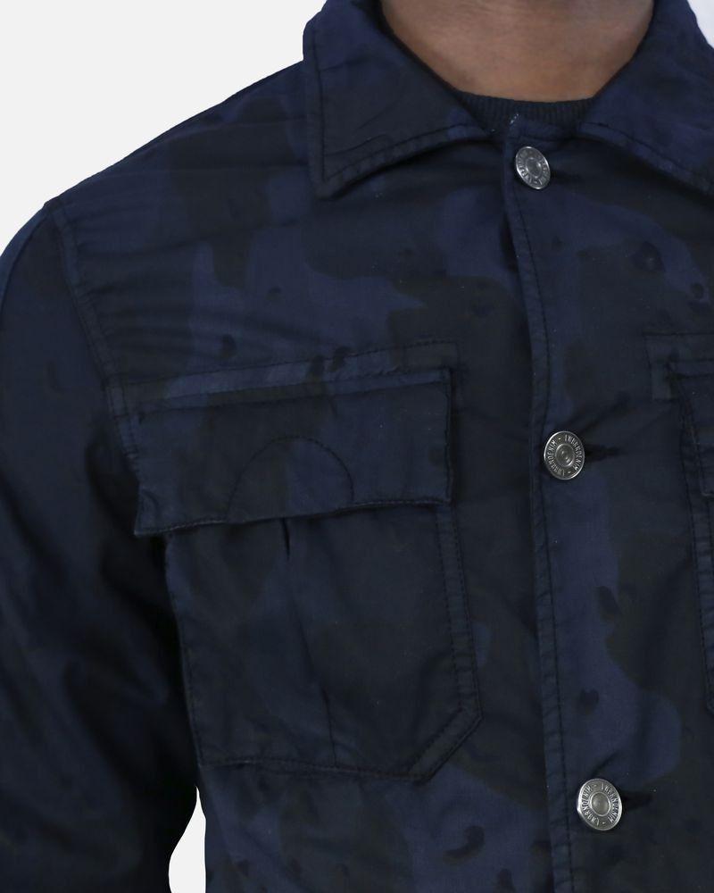 Blouson en coton imprimé camouflage bleu Low Brand
