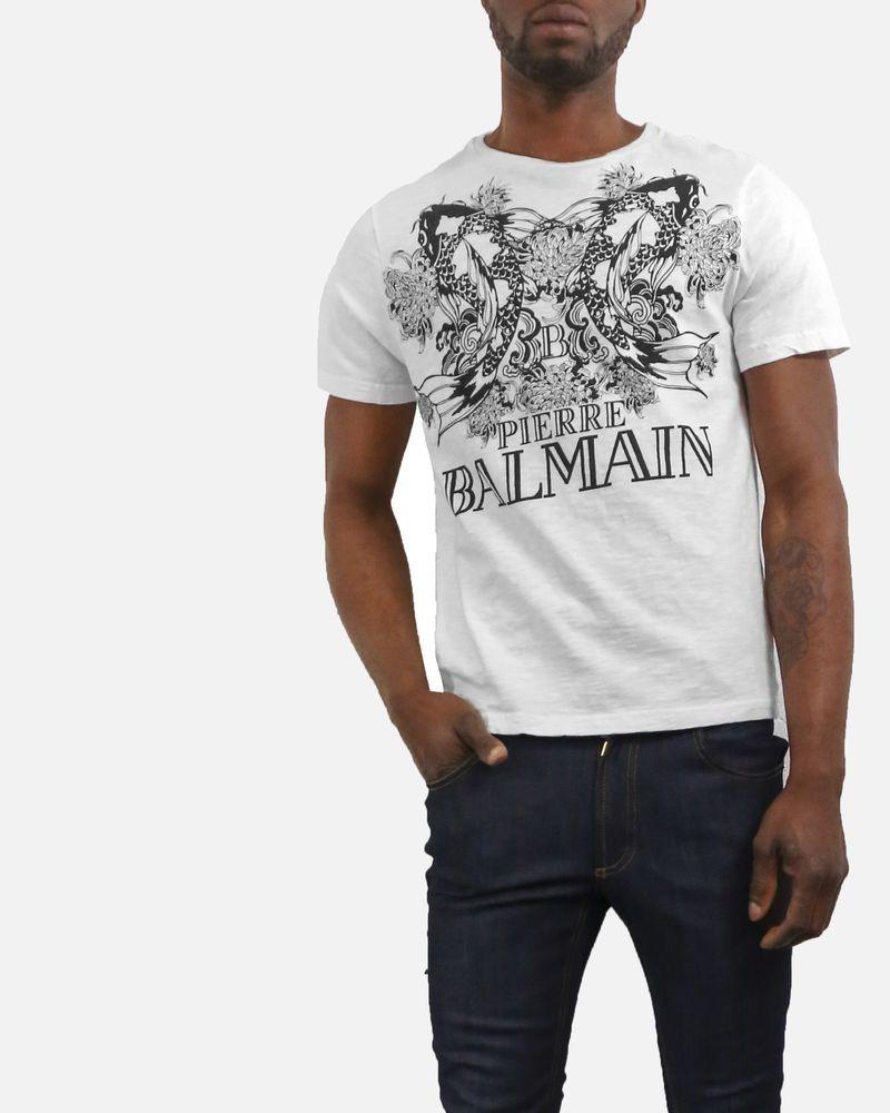 T shirt blanc cassé à imprimé «Poisson» Balmain