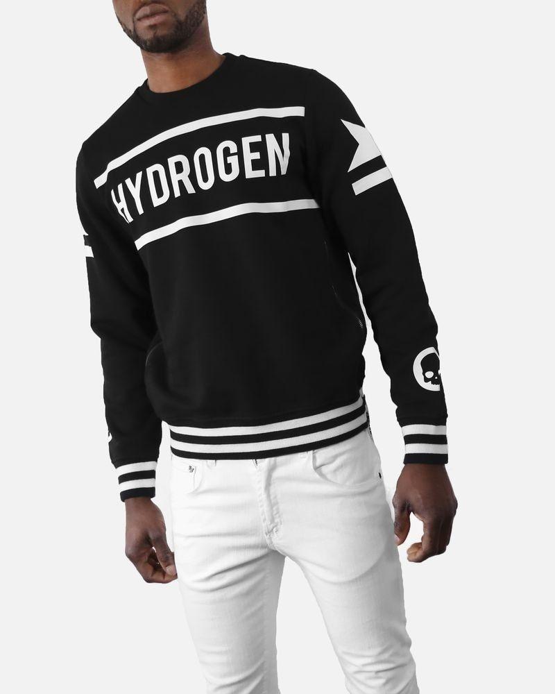 Sweat en coton noir à détails blanc Hydrogen