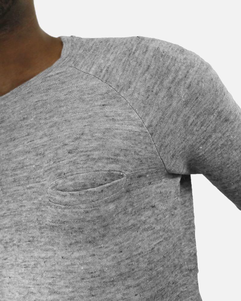 Pull gris à poche en coton Daniele Fiesoli