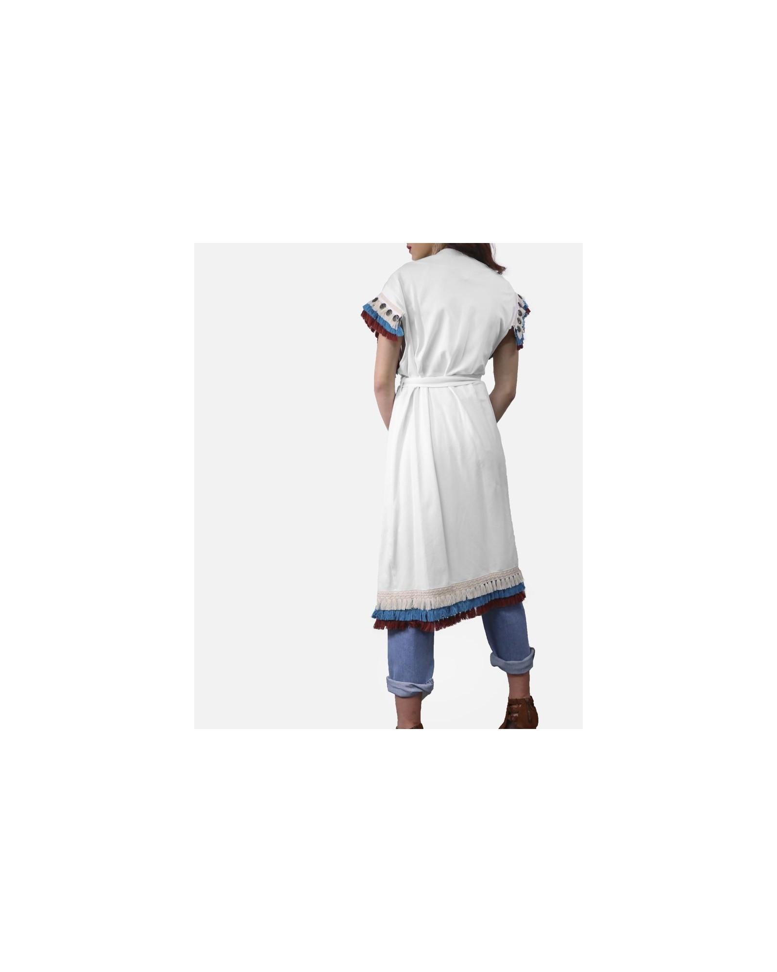 Gilet blanc à broderies ethniques Jijil