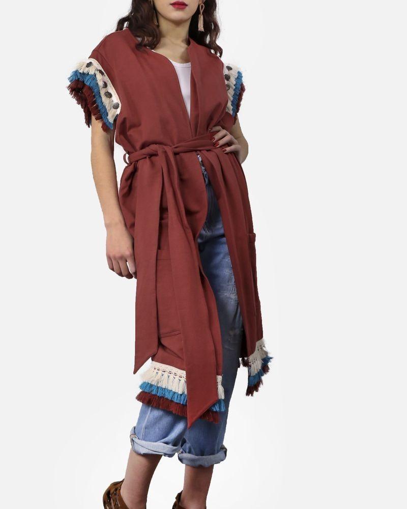 Gilet à broderies ethniques couleur brique Jijil