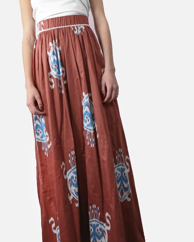 Jupe en coton couleur brique à imprimé ethnique Jijil