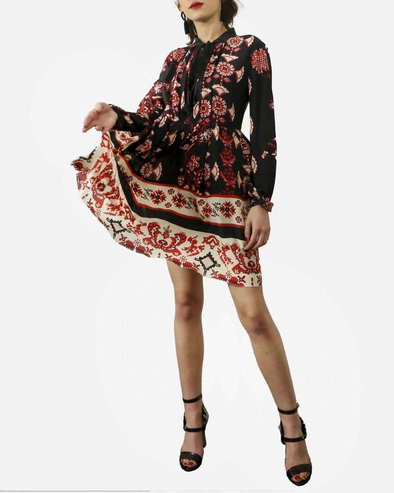 Robe à imprimé ethnique noir & rouge Valentino