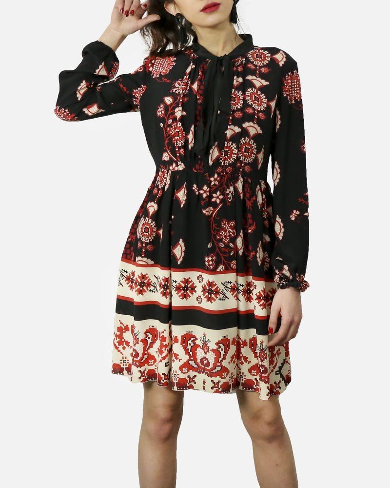 598f51adb Robe à imprimé ethnique noir & rouge Valentino