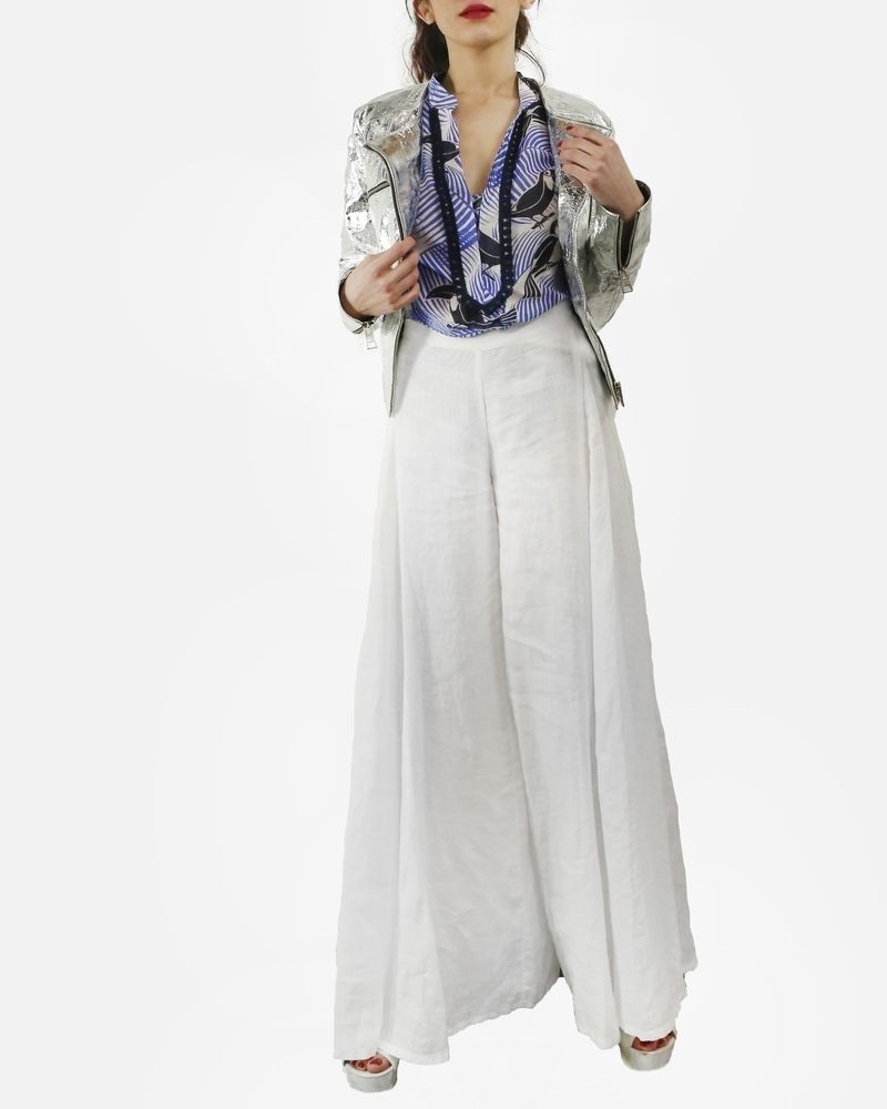 Pantalon jupe culotte en lin blanc tefano Mortari