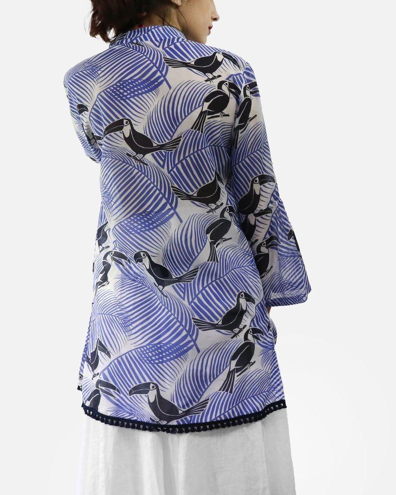 Chemisier long bleu en soie à imprimé tropicaux Laurel