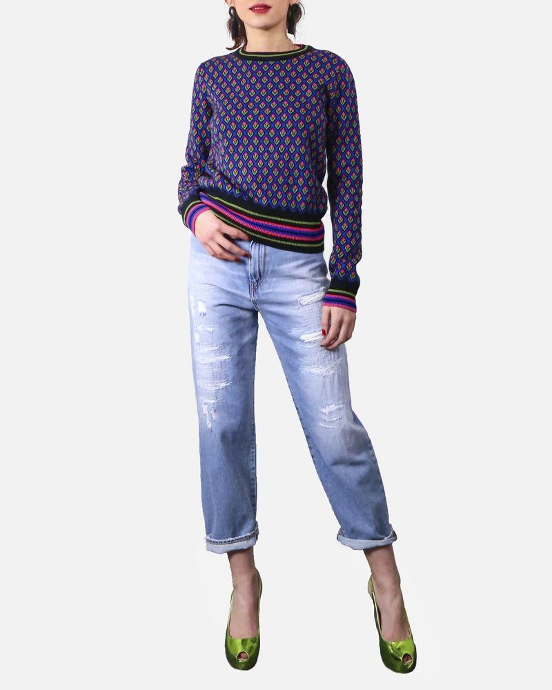 Pull en laine bleu à imprimé géométriques fluo Valentino