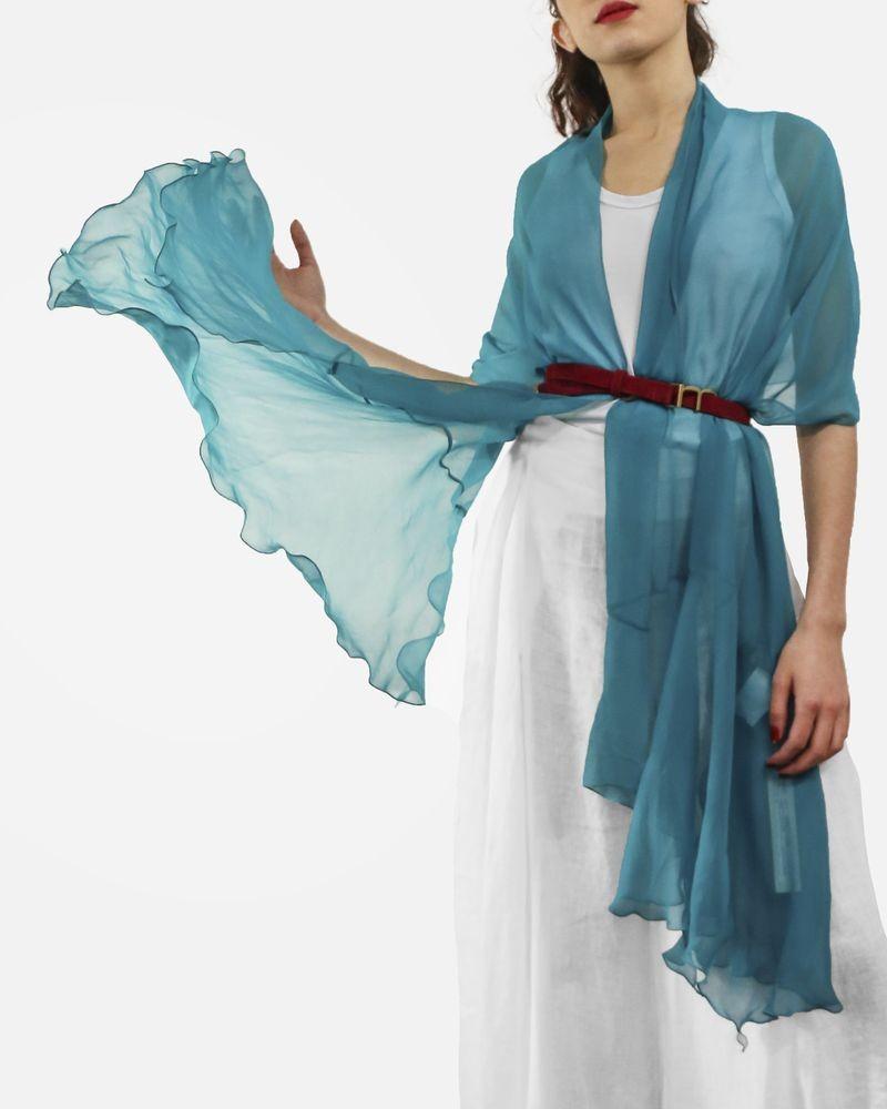 Etole en mousseline de soie bleu Gaowei Xinzhan (GX) Femme
