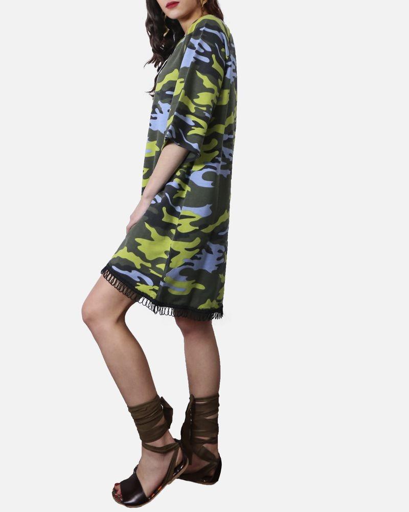 Robes en coton kaki à imprimeé camouflage vert & bleu Jijil