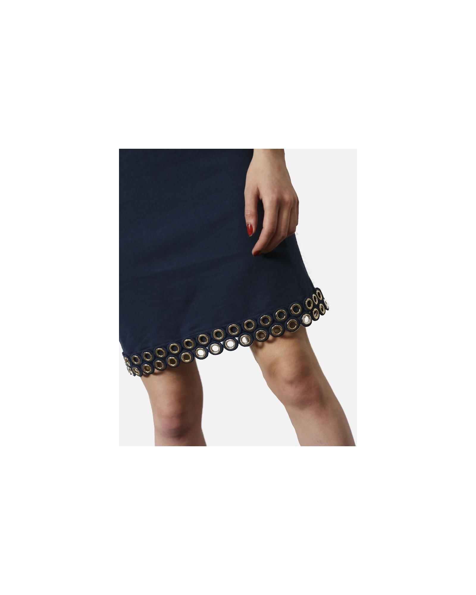 Robe courte en coton bleu à fantaisie ½illets dorée Jijil