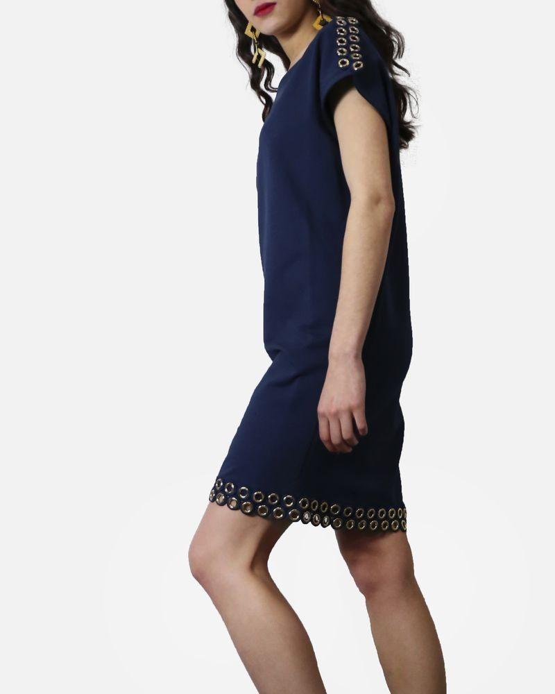 Robe courte en coton bleu à fantaisie œillets dorée Jijil