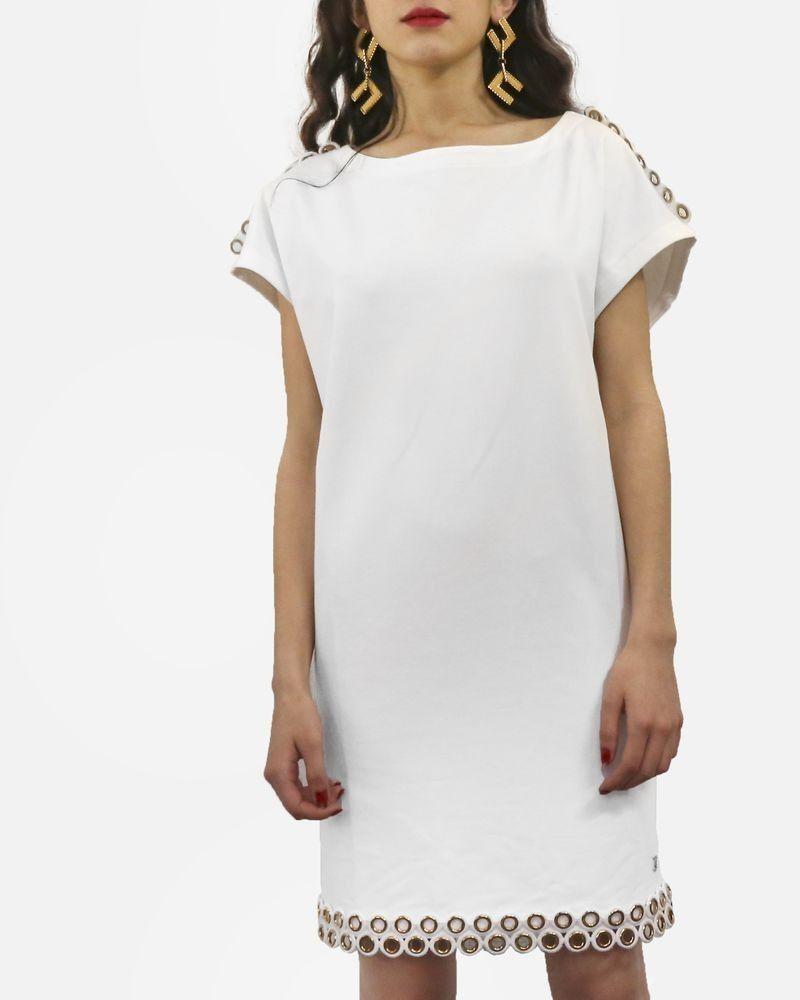Robe courte en coton blanc à fantaisie œillets dorée Jijil