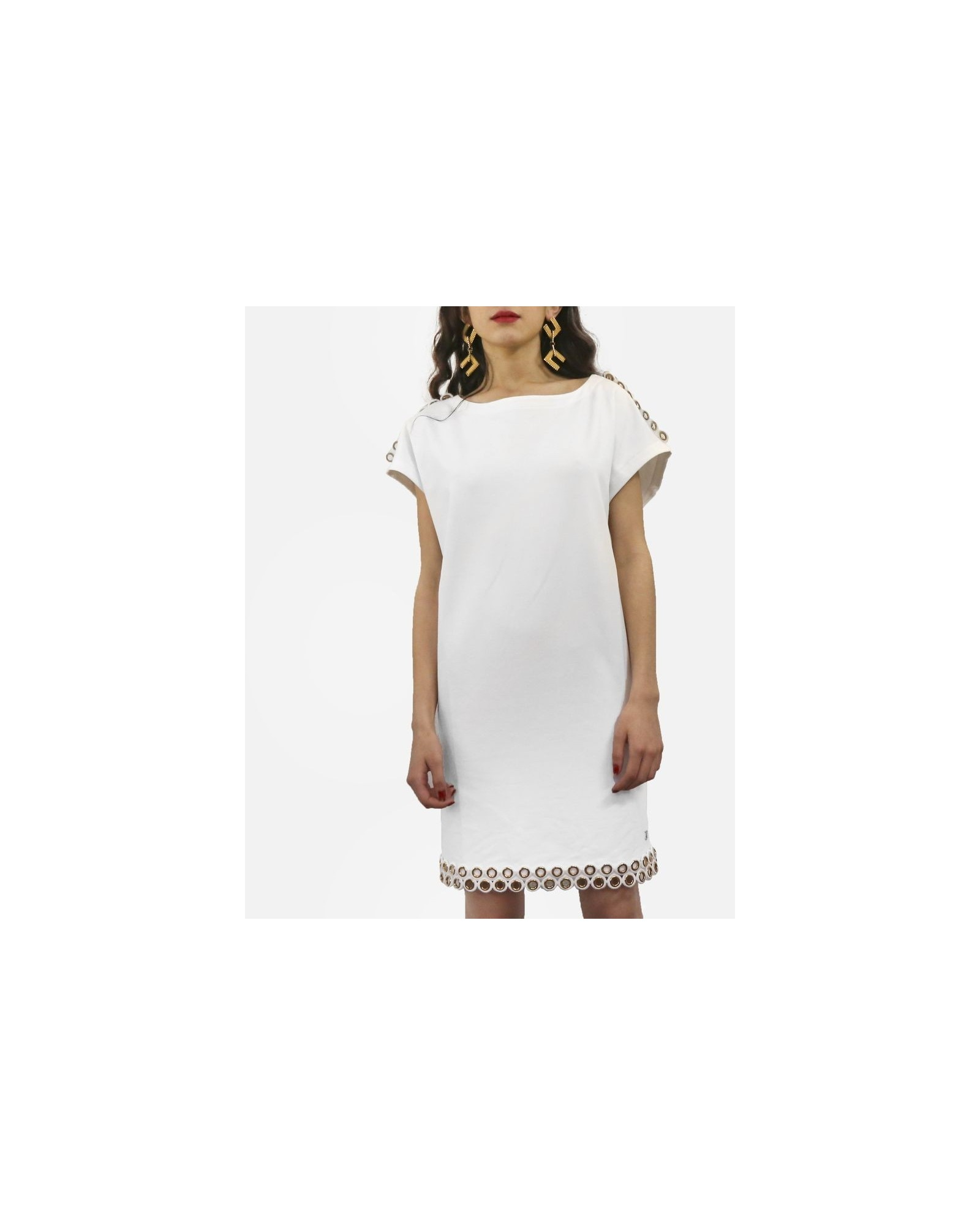 Robe courte en coton blanc à fantaisie ½illets dorée Jijil