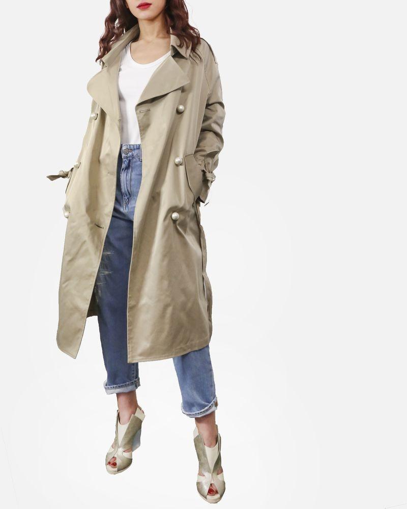Trench coat beige à détails perles Isabelle Blanche