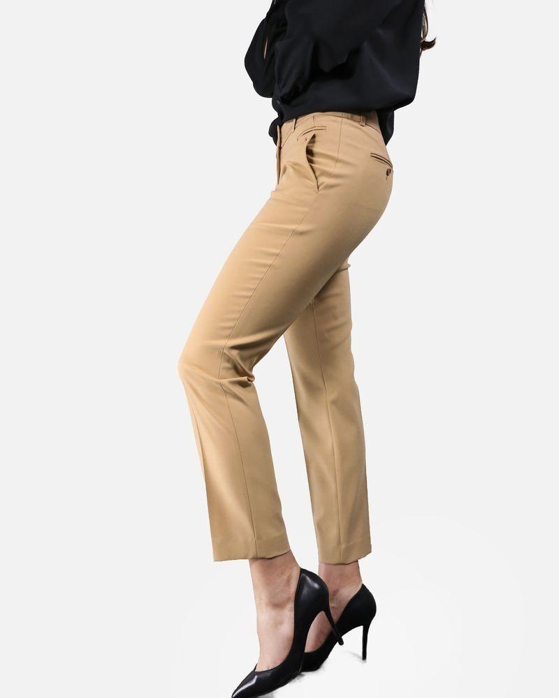Pantalon droit à plis cassé camel Michael Kors