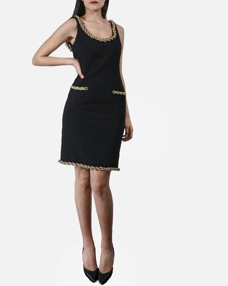 Robe matelassé noire couture à chaines Moschino