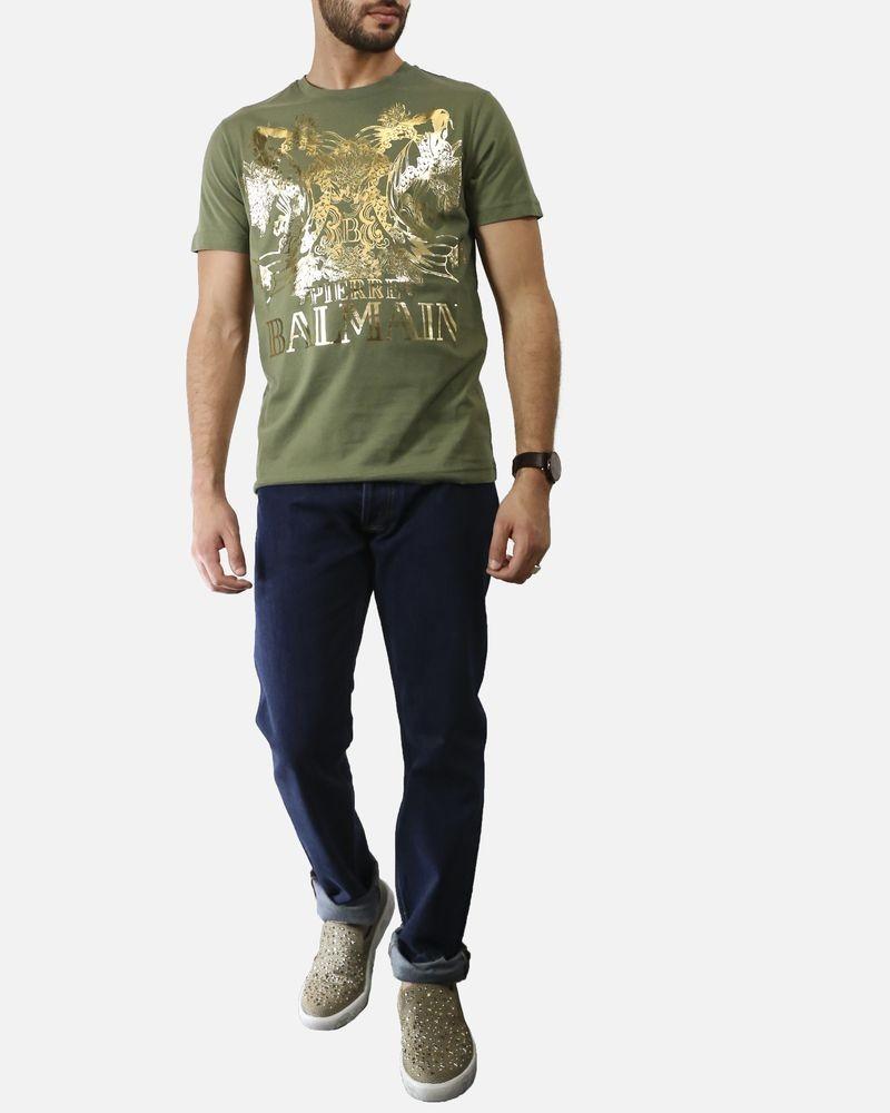 T shirt kaki à imprimé «Poisson» dorée Pierre Balmain