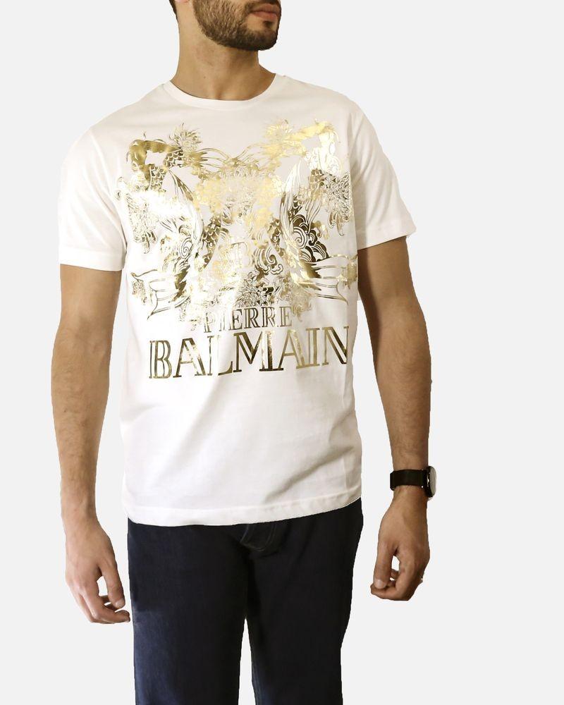 T shirt blanc à imprimé «Poisson» dorée Pierre Balmain