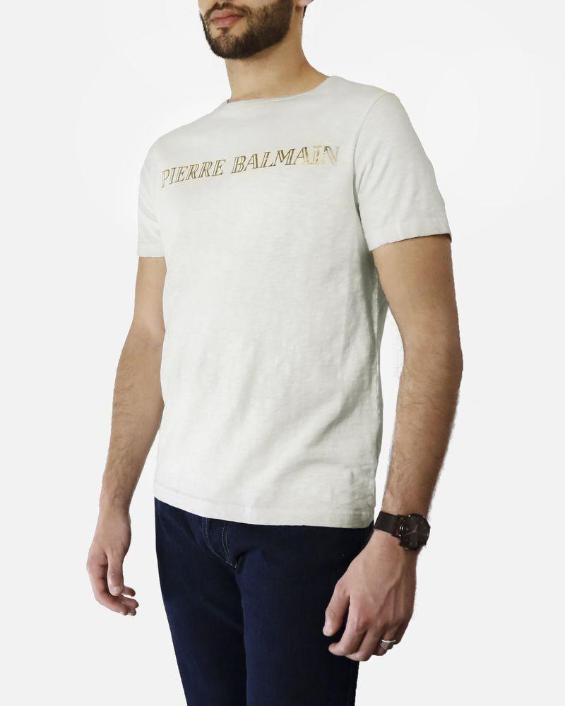T shirt blanc à imprimé «Pierre Balmain» dorée Pierre Balmain