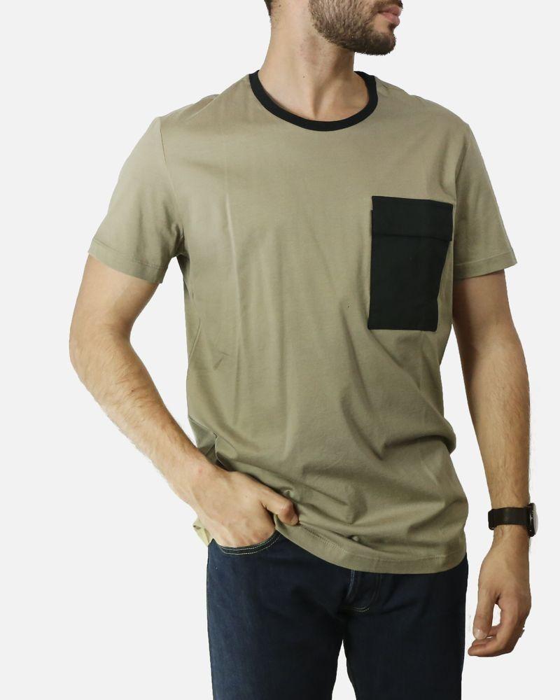 T-Shirt beige à poche contrastante Low Brand