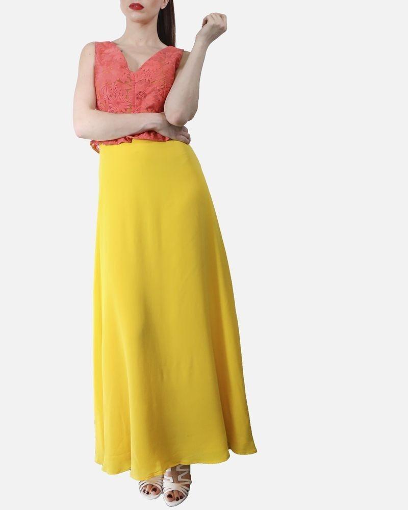 Robe en guipure & soie à basque rose et jaune Space Simona Corsellini