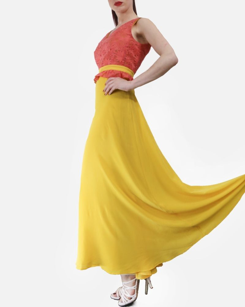 Robe longue en soie rose et jaune Space New Co