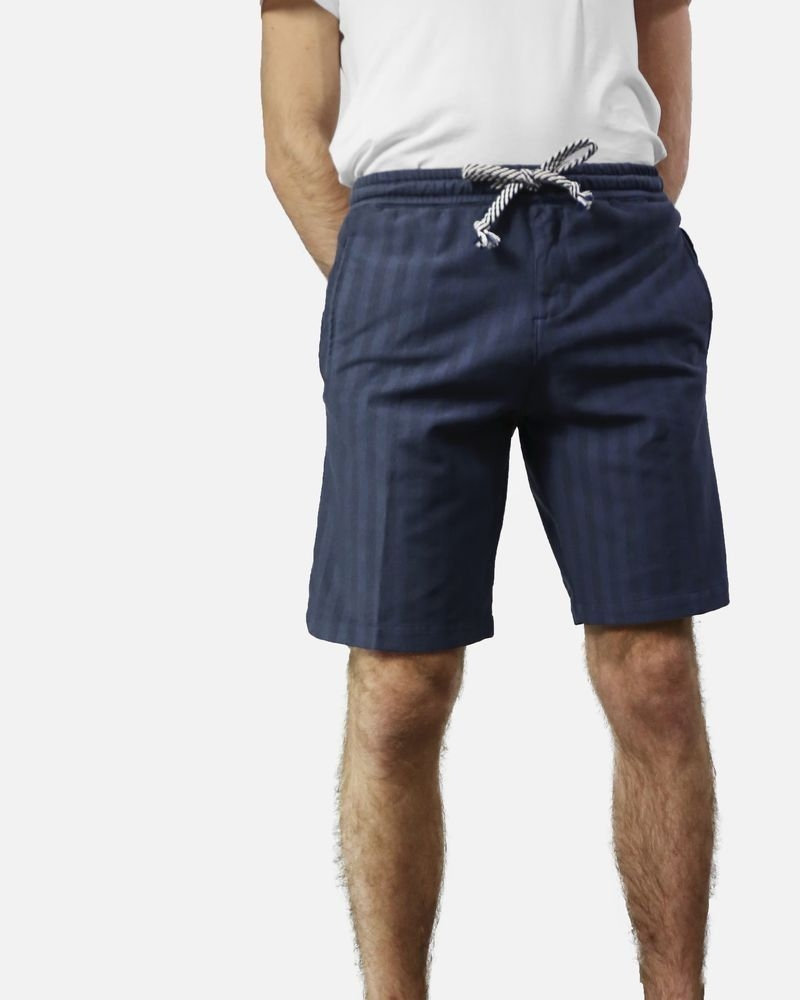 Short bermuda à rayure en coton bleu Myths
