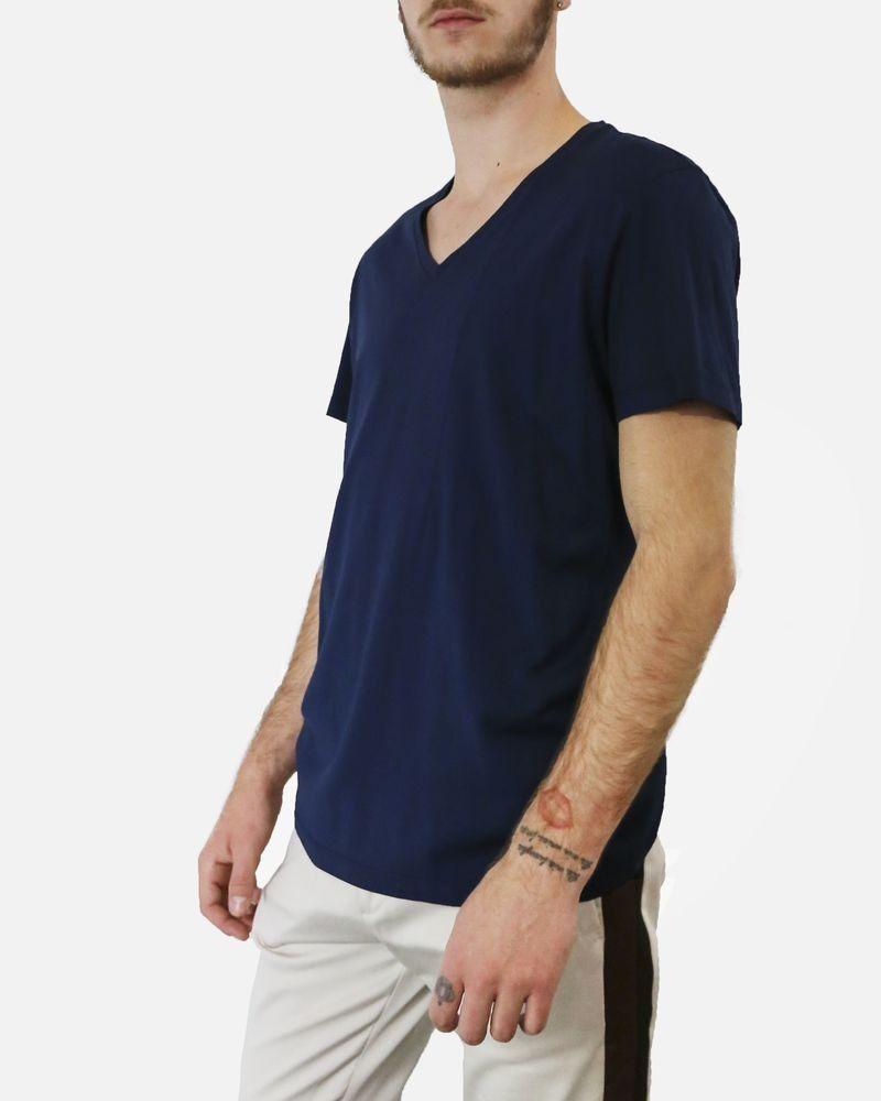 T-Shirt bleu col V à pince fantaisie Low Brand