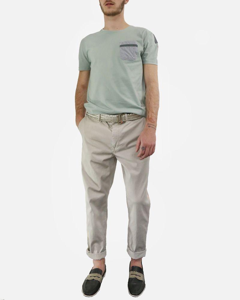 T-Shirt vert à poches à carreaux Marchand Drapier