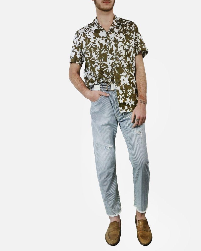 Pantalon skinny en coton gris à rayure fine & ourlet frangé TrueNYC