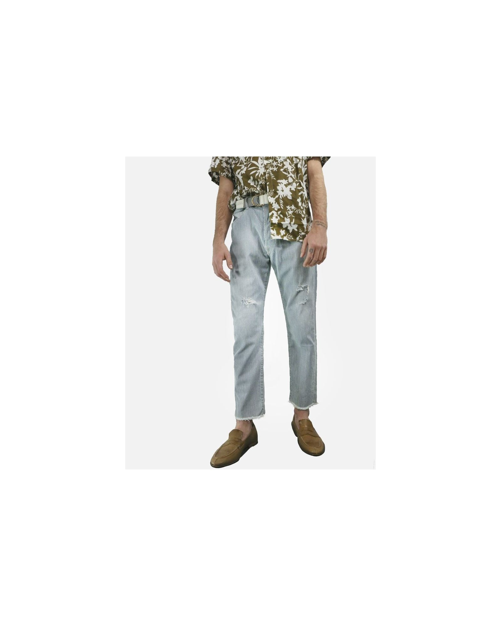 Pantalon rayé bleu TrueNYC
