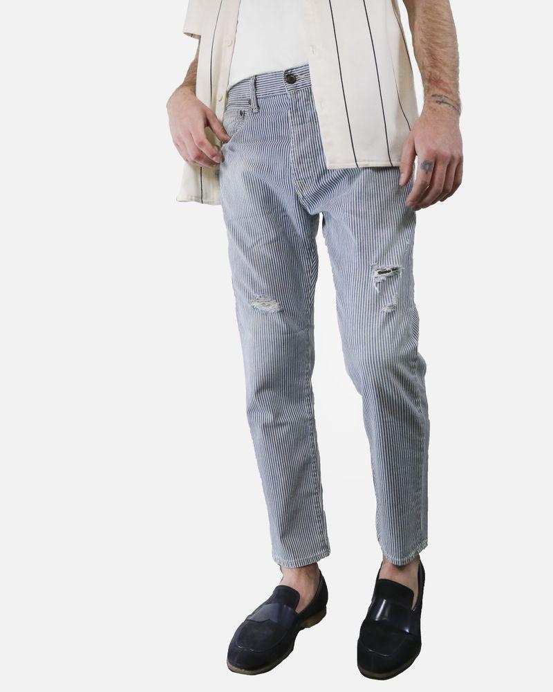 Pantalon skinny en coton gris à rayure fine TrueNYC