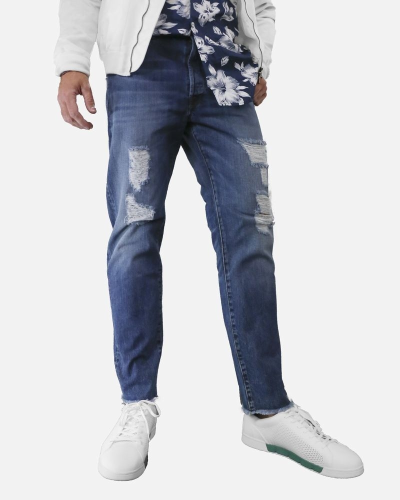 Jean skinny en coton bleu à déchirure TrueNYC