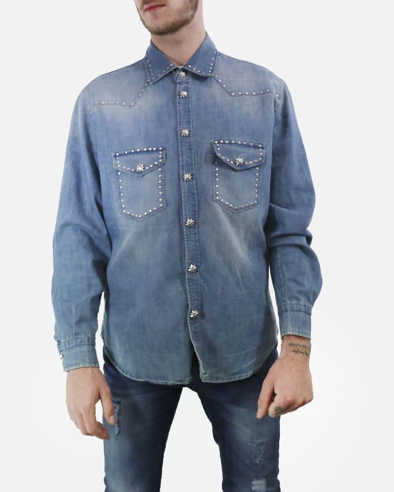 Chemise en jean à clous & boutons John Richmond