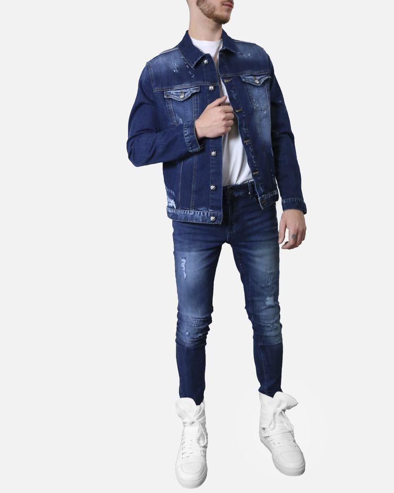 Veste en jean bleu délavé à bouton fantaisie John Richmond