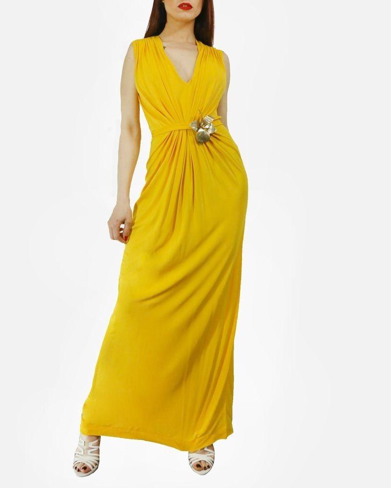 Robe longue jaune drapée Space New Co