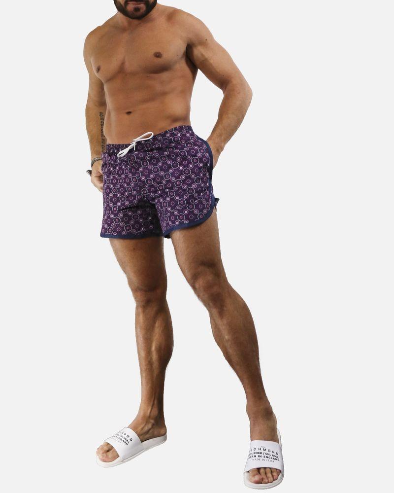 Short de bain violet fleuri Robinson Les Bains
