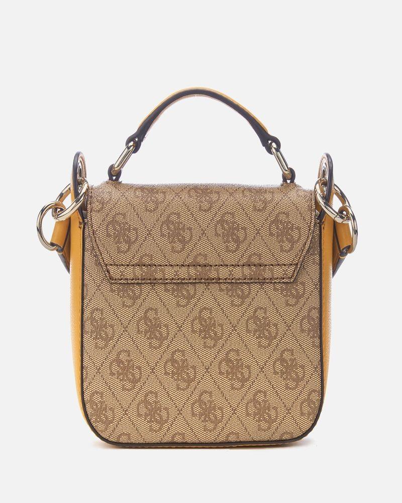 e73d7e3865 Mini sac à bandoulière marron & jaune à logo Guess pas cher - Outle...