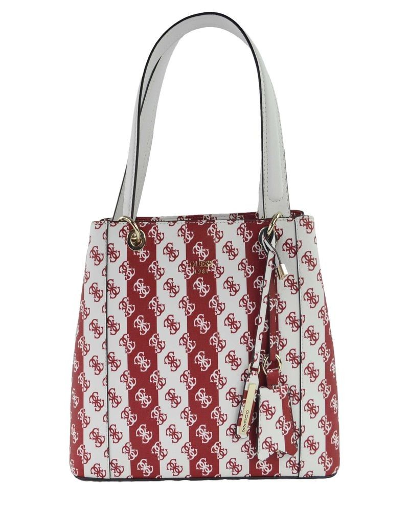 Sac cabas blanc rayée rouge Guess